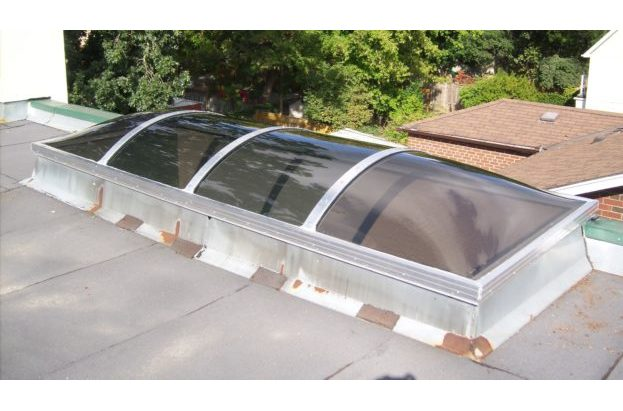 Barrel Vault Continuous Skylight with Bronze Acrylic Domes