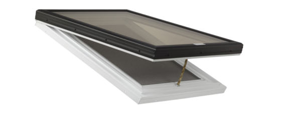 Manually Operable Venting Glass Skylight on a PVC Curb Frame