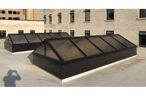 Architectural Multiwall Gable End Pyramid Skylight on a Flat Roof