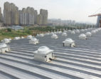 Series of solar tunnels on a roof deck