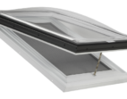 Manually Operable Venting Skylight with Acrylic Domes on a PVC Curb Frame